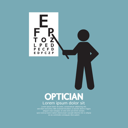 optician: Optician Pointing To Snellen Chart Graphic Symbol Vector Illustration