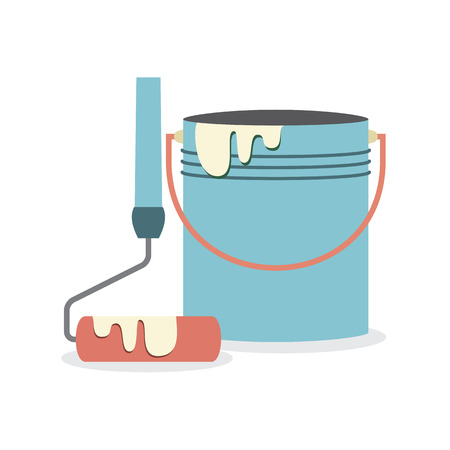paint cans: Flat Design Paint Bucket With Roller Vector Illustration