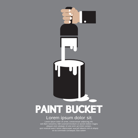 paintbucket: Paint Bucket With Paintbrush In Hand Vector Illustration Illustration
