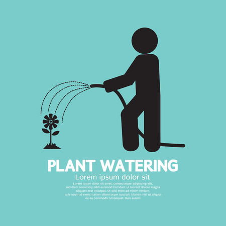 garden hose: Plant Watering With Rubber Hose Tube Vector Illustration