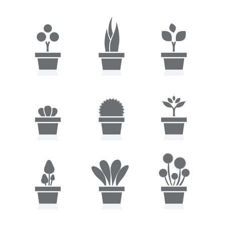 plant pot: Set Of Pot Plants Black Symbol Vector Illustration Illustration
