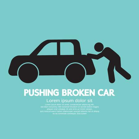 car trouble: Pushing Broken Car Graphic Symbol Vector Illustration