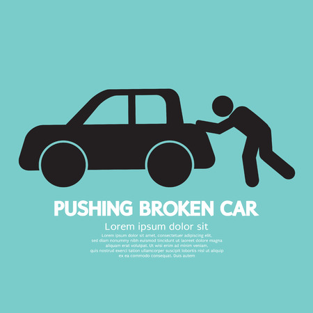 Pushing Broken Car Graphic Symbol Vector Illustration