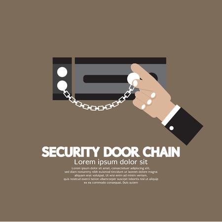 burglary: Hand With Security Door Chain Vector Illustration Illustration