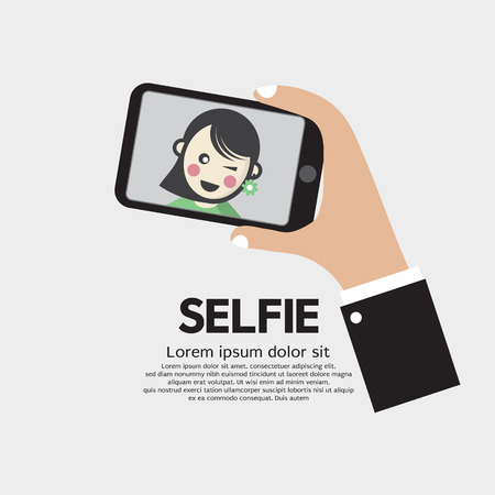 taking picture: Selfie By Phone Lifestyle With Technology Vector Illustration
