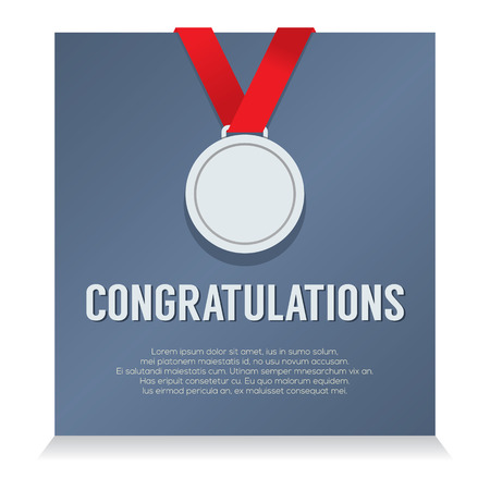 silver medal: Silver Medal With Congratulations Card vector illustration