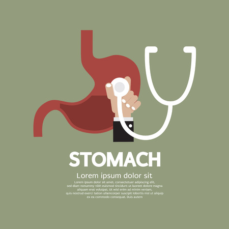 Doctor Stethoscope Checking On Stomach Medical Concept Vector Illustration Çizim