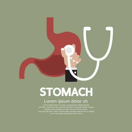 sistema digestivo: Médico estetoscopio que controla en el estómago Ilustración vectorial Concepto Médico