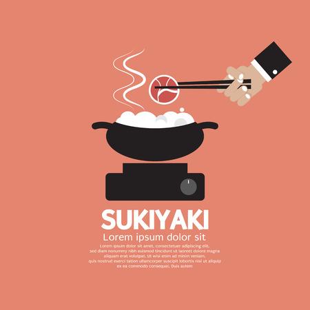 Sukiyaki Japanese Dish Vector Illustration