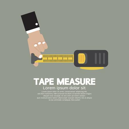 cinta de medir: Cinta Métrica Con Ilustración Hombre Mano Vector