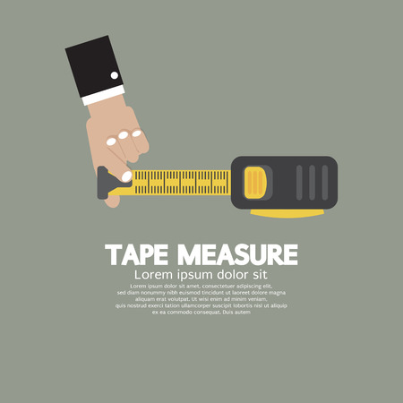measure tape: Tape Measure With Man Hand Vector Illustration