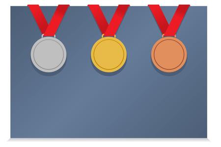 Three Medals On Blank Card vector illustration Vector