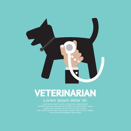 Doctor Hand With Stethoscope Checking On Dog Body Veterinarian Concept Vector