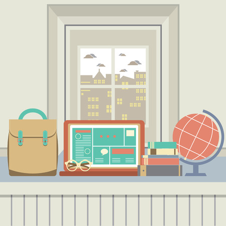 Laptop, Books, Eyeglasses And Desk Globe On Windowsill