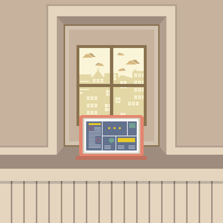 windowsill: Single Laptop On Windowsill Vector Illustration Illustration