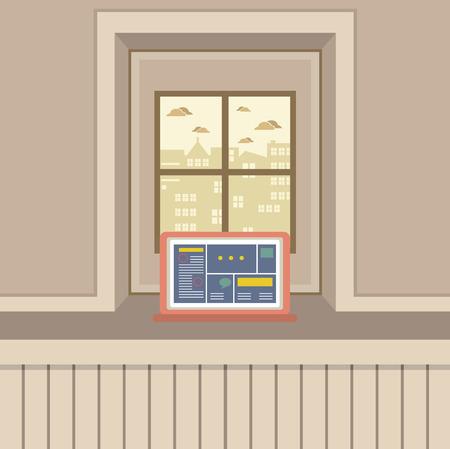 windowsill: Single Laptop On Windowsill Vector Illustration Illustration