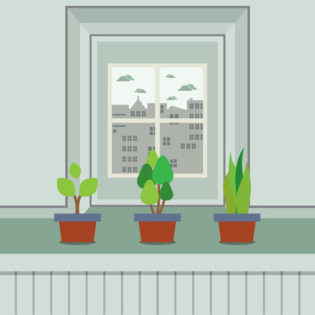 windowsill: Set Of Pot Plants On Windowsill Vector Illustration