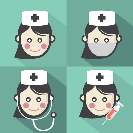 Flat Design Nurse Icon With Long Shadow Effect Vector Illustration Vector