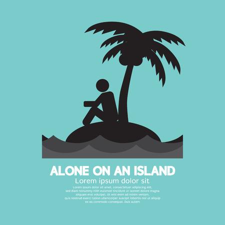 Solo en una isla Ilustración Negro Símbolo Vector