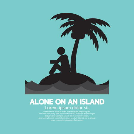 Alone on an Island Black Symbol Vector Illustration