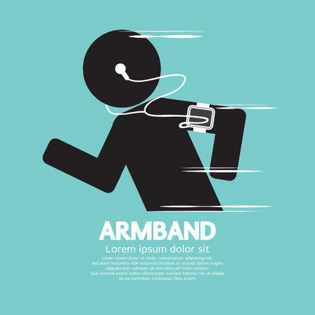 Symbol Of Runner Wearing Smartphone Armband Illustration Vector