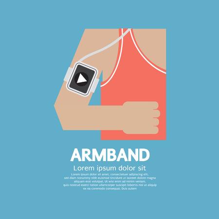 armband: Runner Man Wearing Smartphone Armband Vector Illustration