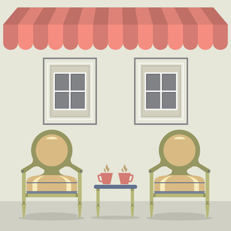 hot seat: Vintage Chairs Set With Coffee Under Awning And Windows Illustration