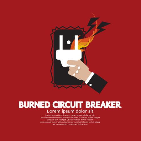 Hand Switching Burned Circuit Breaker Illustration