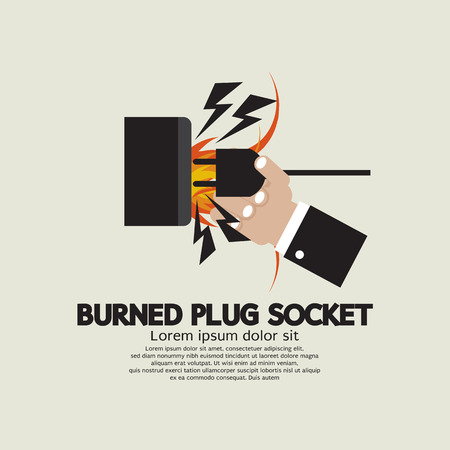 mains: Burned Plug Socket In Hand Illustration