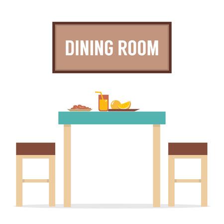 Flat Design Interior Dining Room Illustration