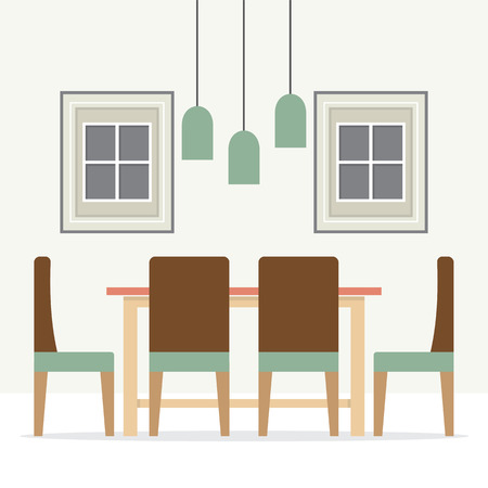 dining: Flat Design Interior Dining Room Illustration