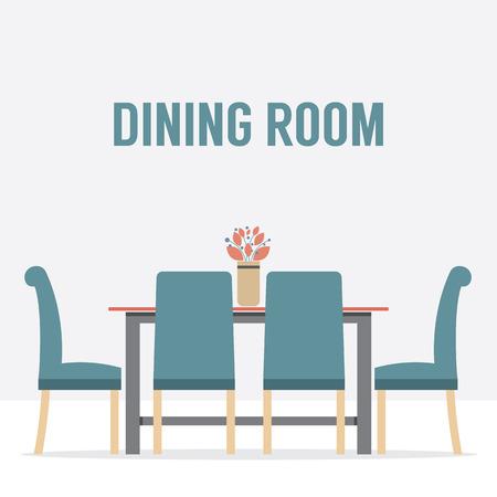 empty chair: Flat Design Interior Dining Room Illustration