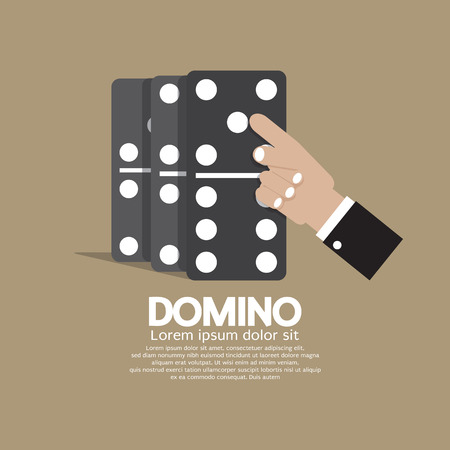 domino effect: Finger Pushing To Domino Row Illustration