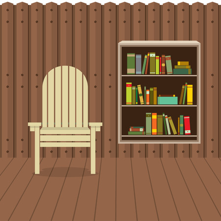 Empty Chair On Wood Wall And Ground With Bookcase Beside Illustration Vector
