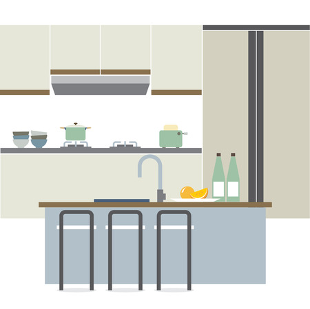 modern interieur: Modern Flat Design Kitchen Interior Illustration Stock Illustratie