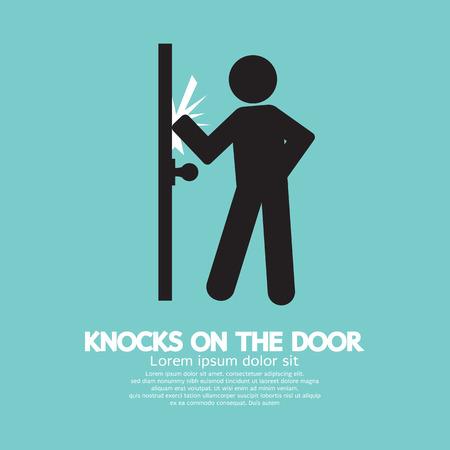Gráfico De Soltero hombre llama a la puerta Ilustración