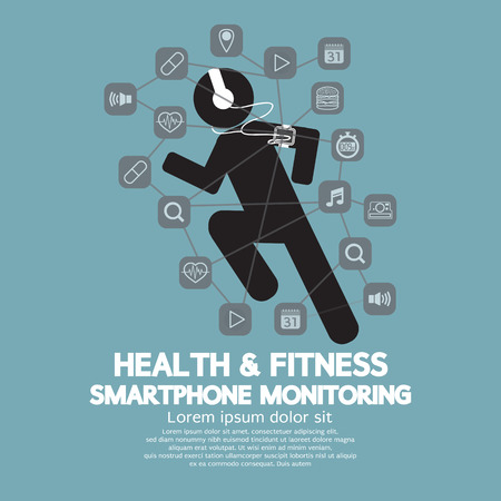 sports app: Health And Fitness Smartphone Monitoring Illustration