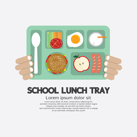 lunch tray: Hand Holding A School Lunch Tray Illustration
