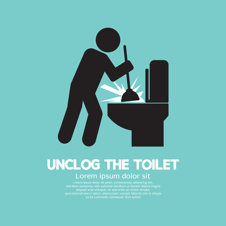 toilet bowl: Unclog The Toilet Black Symbol Illustration