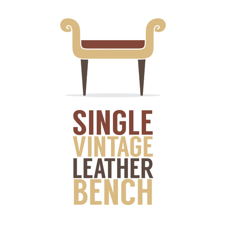 Single Vintage Leather Bench On White Background Vector Illustration Illustration