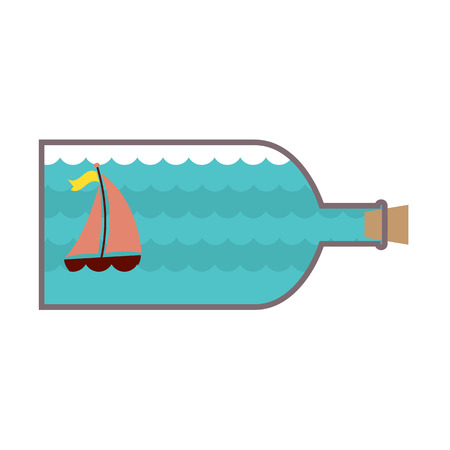 stopper: Sailboat In A Glass Bottle Vector Illustration Illustration