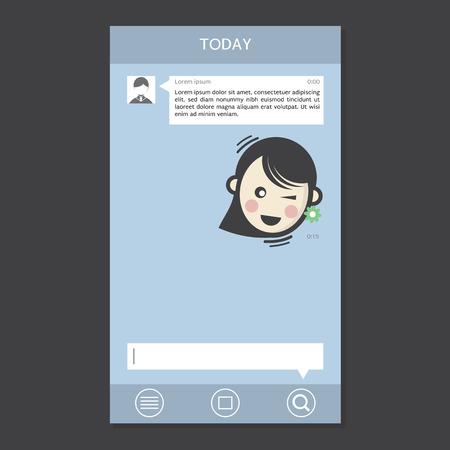 message box: Mobile Chat Frames Message Boxes Sample Text Vector Illustration Illustration