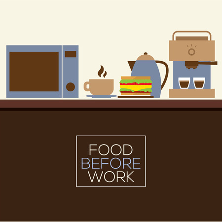 coffee machine: Food Before Work Healthy Concept Vector Illustration