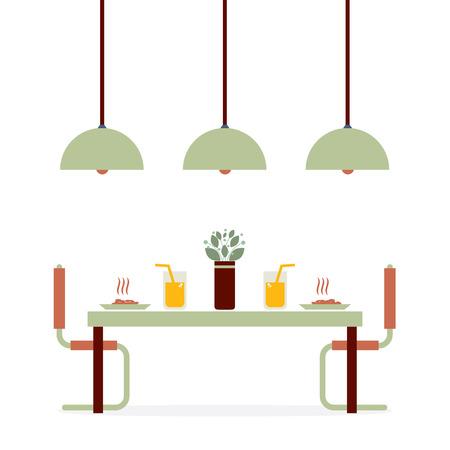 lifestyle dining: Flat Design Interior Dining Room Vector Illustration