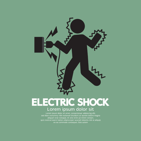 electric wire: Graphic Symbol Of A Man Get An Electric Shock Vector Illustration Illustration