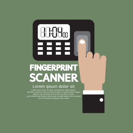 biometric: Finger On Fingerprint Scanner Device Vector Illustration