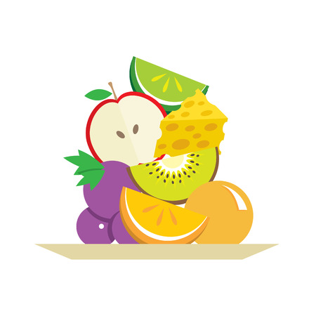 Fresh Fruits And Cheese In Plate Vector Illustration