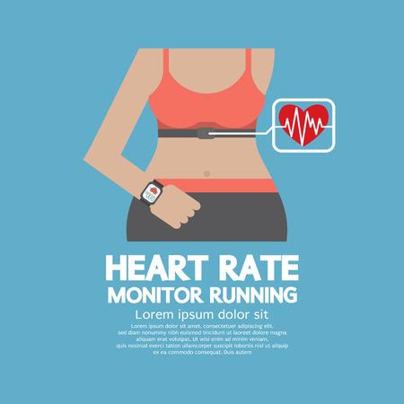 heart monitor: Flat Design Heart Rate Monitor Running Vector Illustration