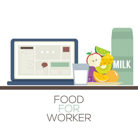 brie: Voedsel voor Arbeider Gezonde voeding concept Vector Illustratie Stock Illustratie
