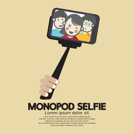 Monopod Selfie Self Portrait Tool For Smartphone Vector Illustration Illustration